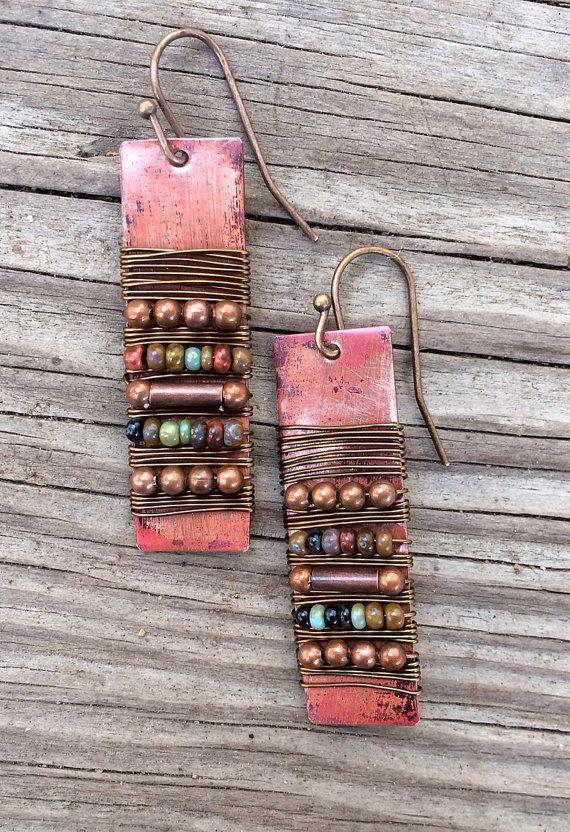 Copper Earrings / Copper and Bead Wrapped Earrings by Lammergeier, $30.00