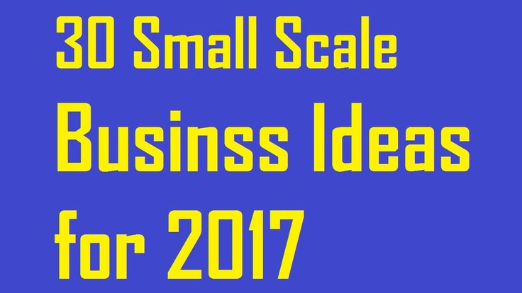 30 Small Scale Business Ideas for 2017