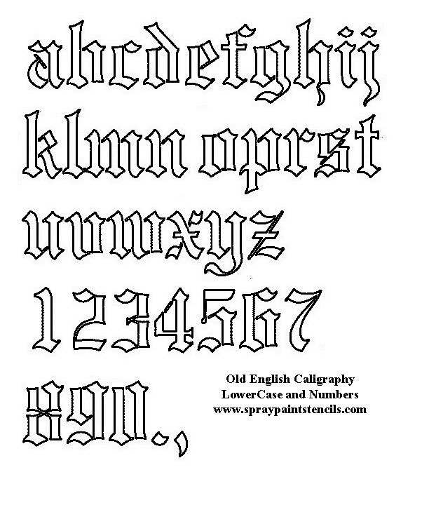 Free Old English Stencil - lower case and numerals