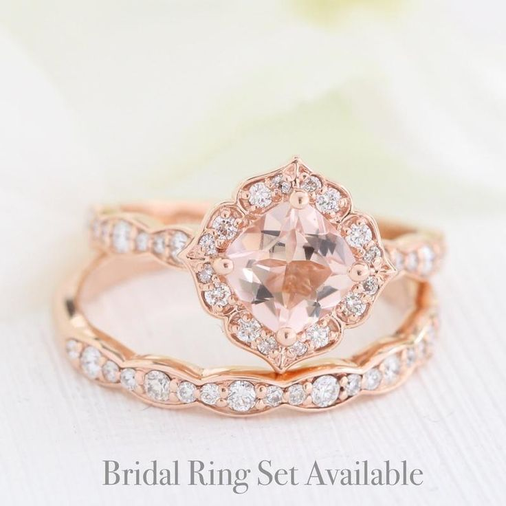 Mini Vintage Floral Ring in Scalloped Band w/ Morganite and Diamond