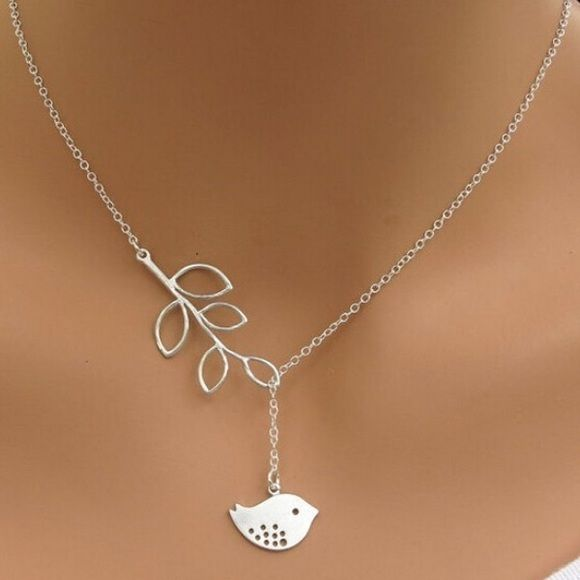Cute Silver Plated Leaf Bird Necklace Brand New - All orders will be shipped the same day! Comes packaged. Jewelry Necklaces