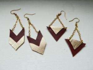 Boucles d'oreilles en cuir graphique,  DIY Linetteël