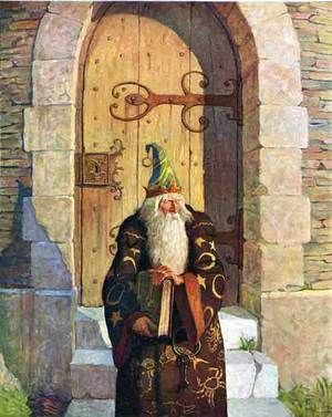 """July 1916, from Mark Twain's The Mysterious Stranger. """"On the fourth day comes the astrologer from his crumbling old tower."""""""