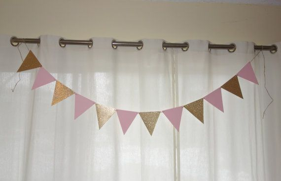 Pink and Gold Triangle Banner Pink and Gold by AllOverCreations