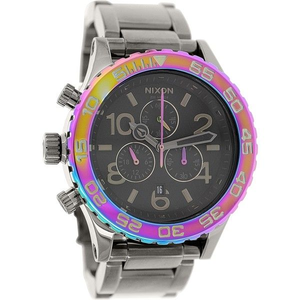Nixon Women's 42-20 A0371698 Gunmetal Stainless Steel Quartz Watch ($410) ❤ liked on Polyvore featuring jewelry, watches, stainless steel wrist watch, nixon wrist watch, stainless steel jewelry, gun metal jewelry and grey jewelry