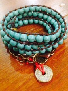 Turquoise Triple Wrap a Bracelet with Lucky Chinese Coins