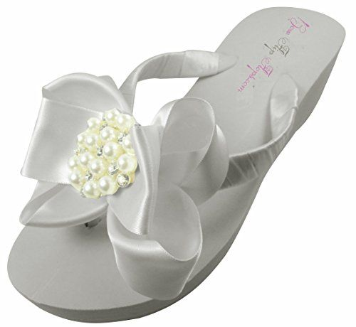 Bridal Flip Flops Ivory White Wedge Womens Wedding Platform Rhinestone Satin Bow Flip Flops 11 M US -- Click on the image for additional details.