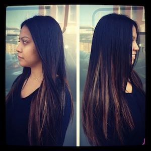 """heavier highlights underneath.  Dark pieces still fall over the underneath, offering a more subtle """"ombre"""" look."""
