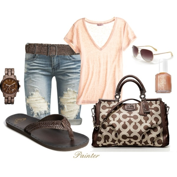 Cute summer outfit! I'll take it please : ): Coach Pur, Summeroutfit, Summer Outfit, Coach Bags, Summer Looks, Flip Flops, Jeans Shorts, Summer Clothing, My Style
