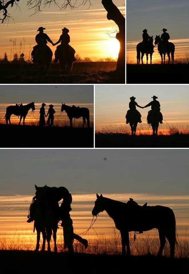Sunset horse couple engagement photo montage