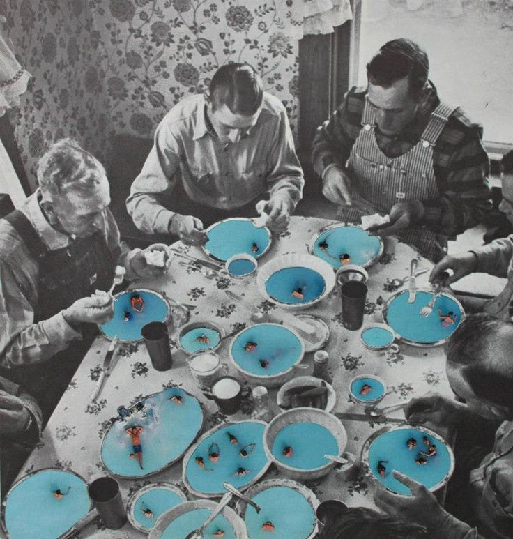 """""""Soup Swiimers""""  mixed media collage by Heike Weber"""