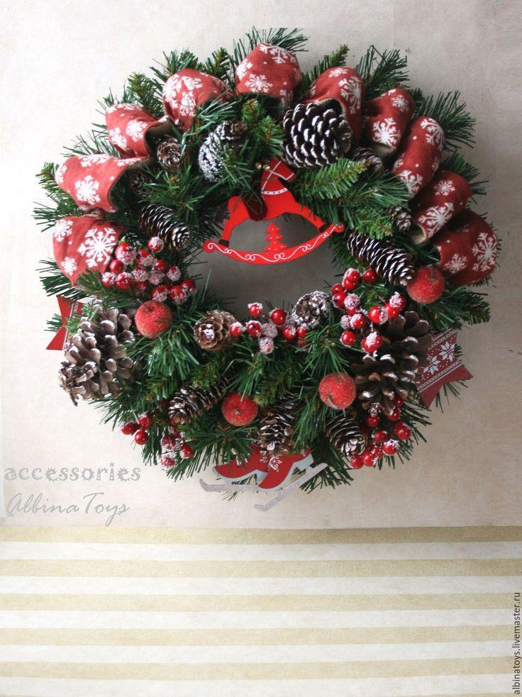 Купить Новогодний венок в скандинавском стиле, диам 46см - венок, интерьерное украшение, рождественское украшение