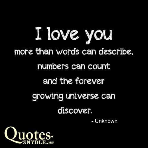 I Love You More Than Quotes: I Love You More Than Words Can Describe, Numbers Can Count