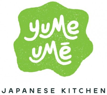 http://yumeume.com/... Industry: Restaurant Combination mark- knock-out type, organic shape, emblem, descriptive tagline, implied screenprinting, hand-drawn font,