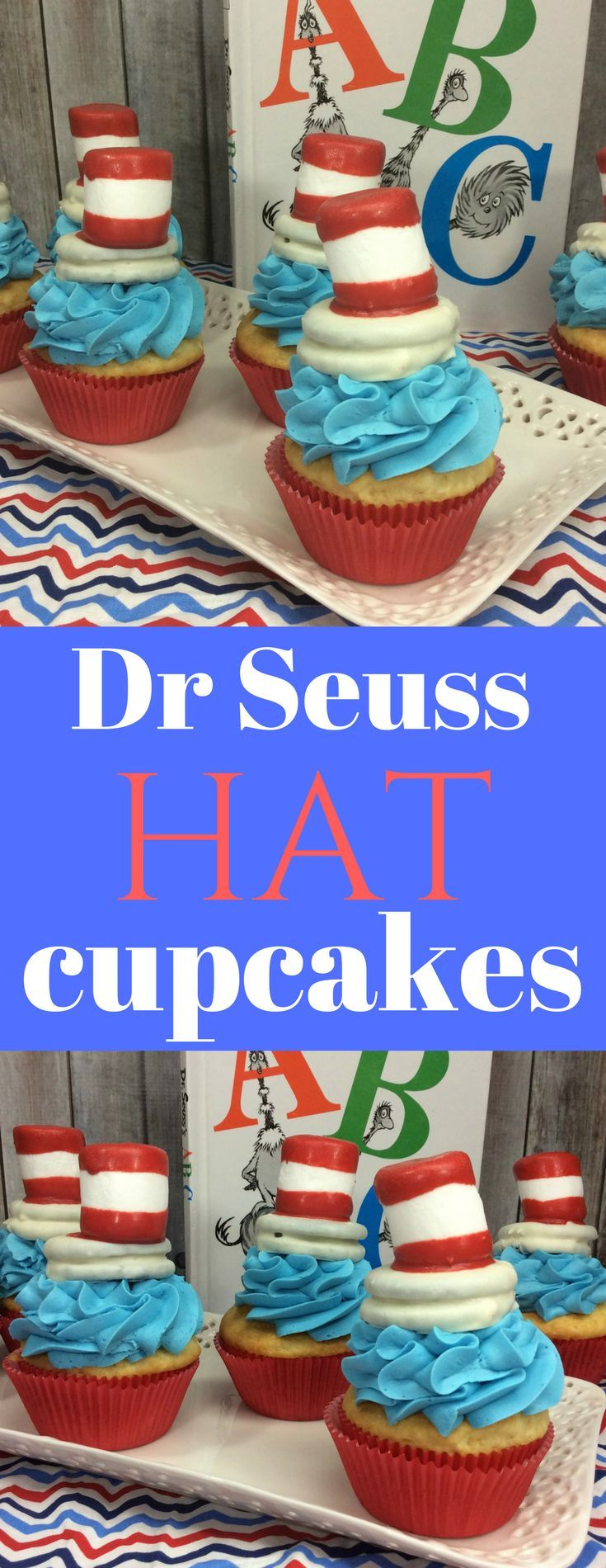 How cute are these Dr Seuss Cat in the Hat cupcakes. If you are looking for dr seuss hat desserts this one is perfect for celebrate his birthday.