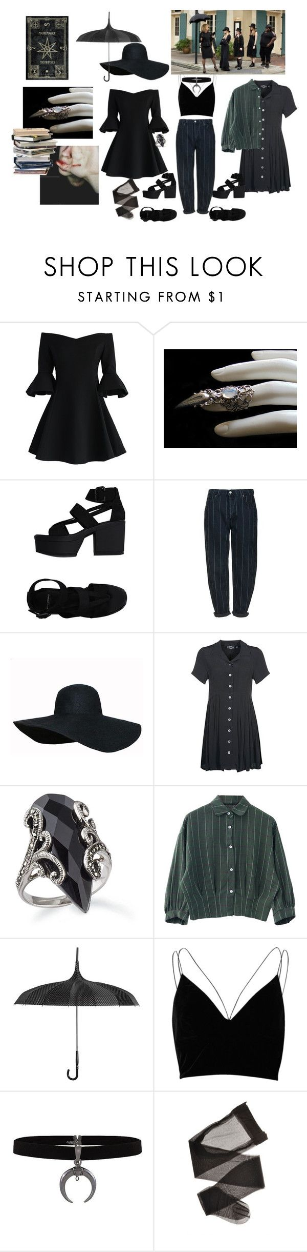 """""""Welcome to the Coven"""" by killertears ❤ liked on Polyvore featuring Chicwish, Vagabond, Topshop, Evil Twin, River Island and vintage"""