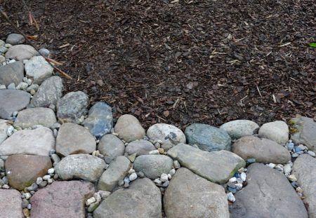 <p>Die+Holz-+und+Paletten-Krempelecke+unter+unserer+Hängebuche+hatte+ich+im+März freigeräumt.+Da+zu+Füßen+des+Baumes+sonst+kaum etwas+gedieh,+entschied+ich+mich+für+eine+Rindenmulchschüttung.+Zur+Abgrenzung legte+ich+eine+leicht+gekrümmte Doppelreihe+Feldsteine+(Granite+und+Feuersteine)+vom+Weidenzaun+bis+zur+Terrassen-Trockenmauer.+Für+jeden+Stein+(man+kann+sicher+gut+erkennen,+dass+einige+
