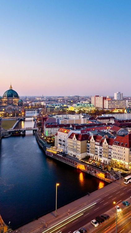 The Berlin sky line is so beautiful at sun down.