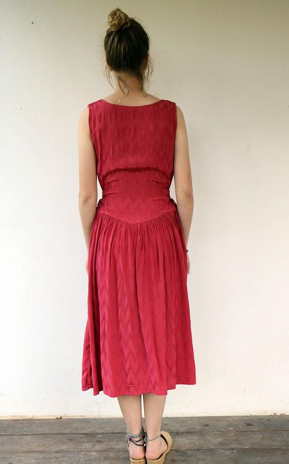 4654cd789f12 Bordeaux Red Dress Vintage 80s Maroon Midi Maxi Dress Boho