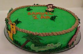 Bage-bloggen: Jungle/Safari Kage (Lagkage med browniebund, passionsfrugtcreme, mandelbunde og jordbærmousse)