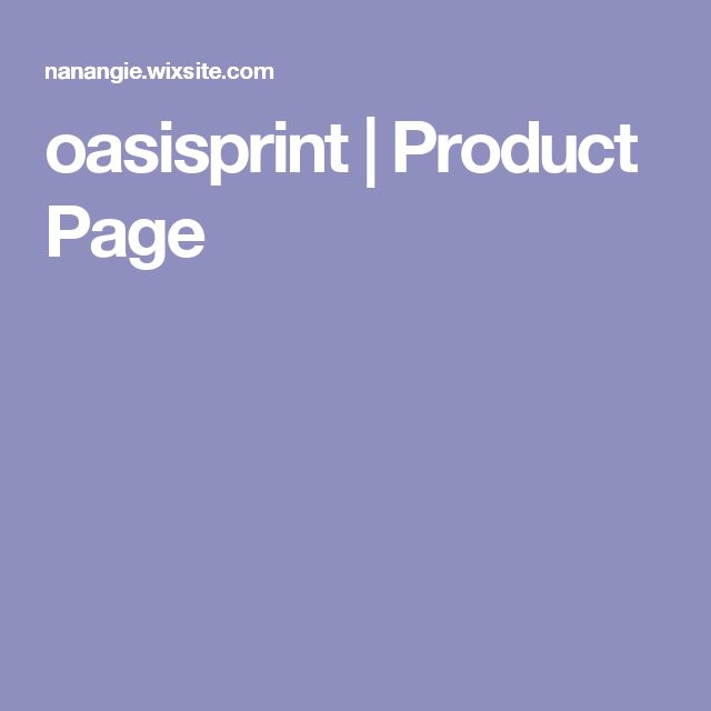 oasisprint | Product Page