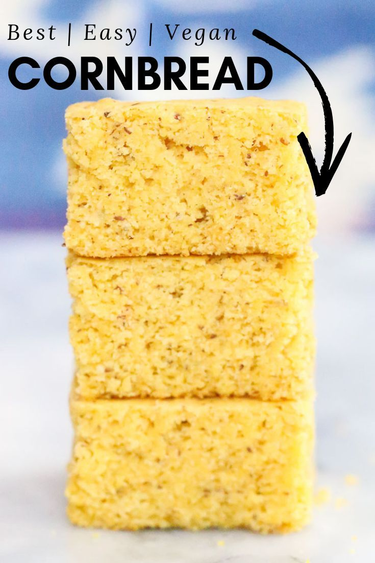 Moist And Lightly Sweet This Easy No Refined Sugar Vegan Cornbread Recipe Comes Together In Just A Few Minu Vegan Cornbread Sugar Free Vegan Corn Bread Recipe