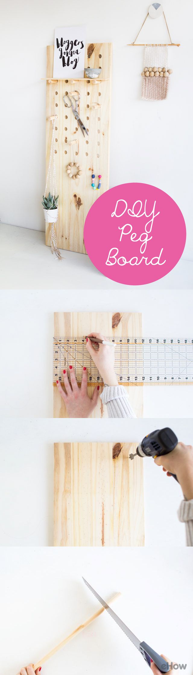 This over-sized peg board can help you organize and arrange tools, artwork, even plants! Plus, the extra shelf storage comes in very handy for things you can't hang. DIY instructions here: http://www.ehow.com/how_6548599_make-own-peg-board.html?utm_source=pinterest.com&utm_medium=referral&utm_content=freestyle&utm_campaign=fanpage