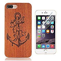 iPhone 7 Plus Case, Bonice Real Wooden Handmade Embossed Pattern Carving Wood With Hard Plastic Back Skin Case Cover for Apple iPhone 7 Plus + HD Screen Protector -Anchors