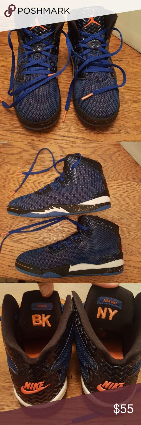 NIKE AIR JORDAN HIGH TOPS very rare Limited Nike Air Jordan  sho nuff NY ya dig BK very rare blue and black tennis shoes with orange Under the blue. Boys size 3. Excellent condition. Two minor wear marks on the inside black top. Each less than 5 mm. Smoke-free pet-free home Nike Air Jordan Shoes Sneakers