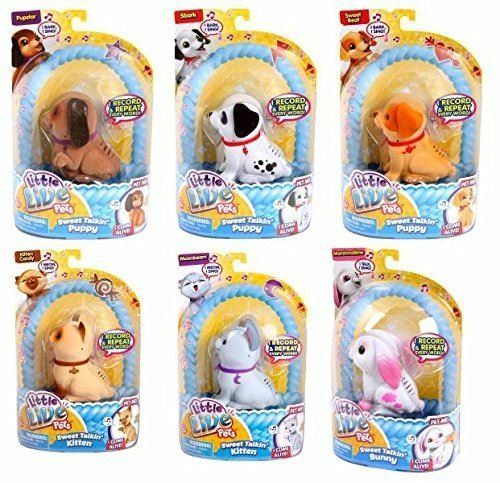 Little Live Pets Sweet Talking Friends are cute little friends who love to speak and repeat what you say. There are 6 Sweet Talking Pets to collect! kitten Candy puppy Sbark kitten Moonbeam puppy P...