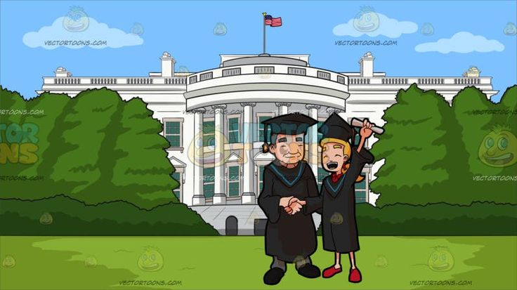 A Woman Raising Her Diploma As She Poses For A Photo With The Faculty Head Of Her Course During Graduation At White House South Lawn :  A blue eyed female college graduate with long blonde ponytailed hair wearing a black academic dress and cap with a blue bordered hood over her red collared shirt feet wearing red shoes left hand raising up a rolled white diploma closes her eyes and shouts in glee as she shakes the hand of the faculty head wearing the same academic dress over his gray pants…