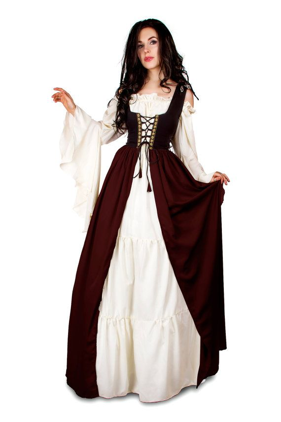 Renaissance Medieval Irish Costume Two-Toned Over Dress Black Fitted Bodice Burgundy Skirt 4XL/5XL
