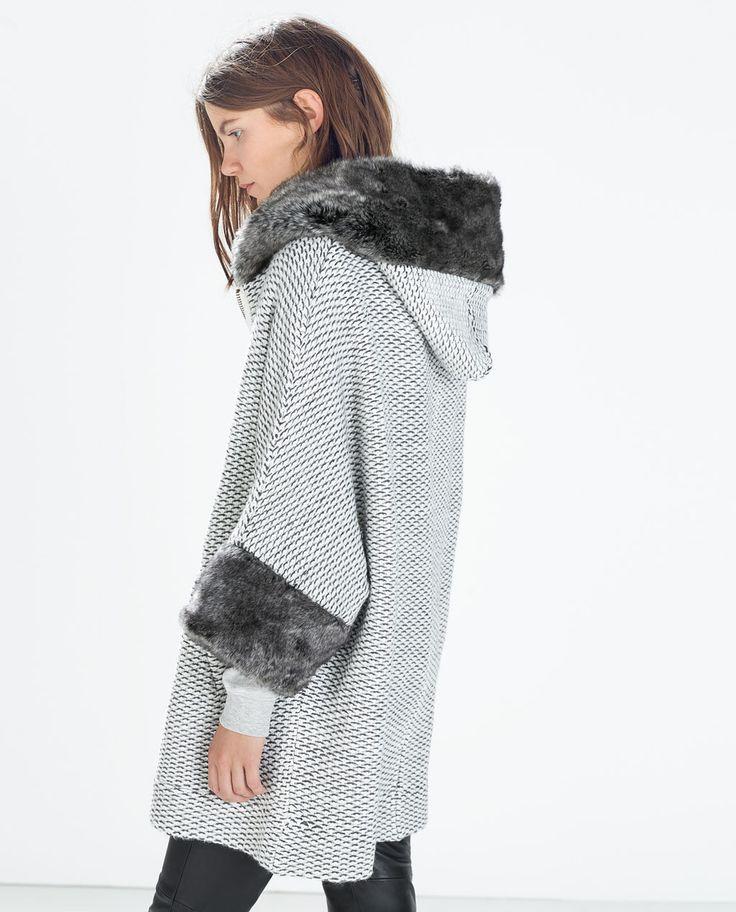 Zara winterjacke mit kapuze und fell