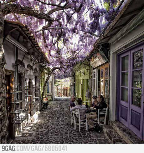 Molyvos village in Lesvos, Greece