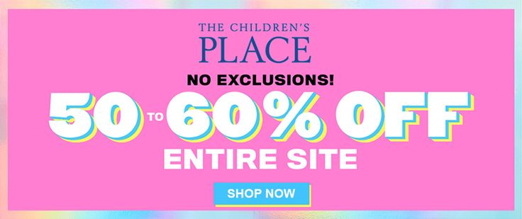 Online & In-Store! Take 50-60% #off entire site.  Store: #TheChildrensPlace Scope: Entire Store Ends On : 03/30/2018  Get more deals: http://www.geoqpons.com/The-Childrens-Place-coupon-codes  Get our Android mobile App: https://play.google.com/store/apps/details?id=com.mm.views  Get our iOS mobile App: https://itunes.apple.com/us/app/geoqpons-local-coupons-discounts/id397729759?mt=8