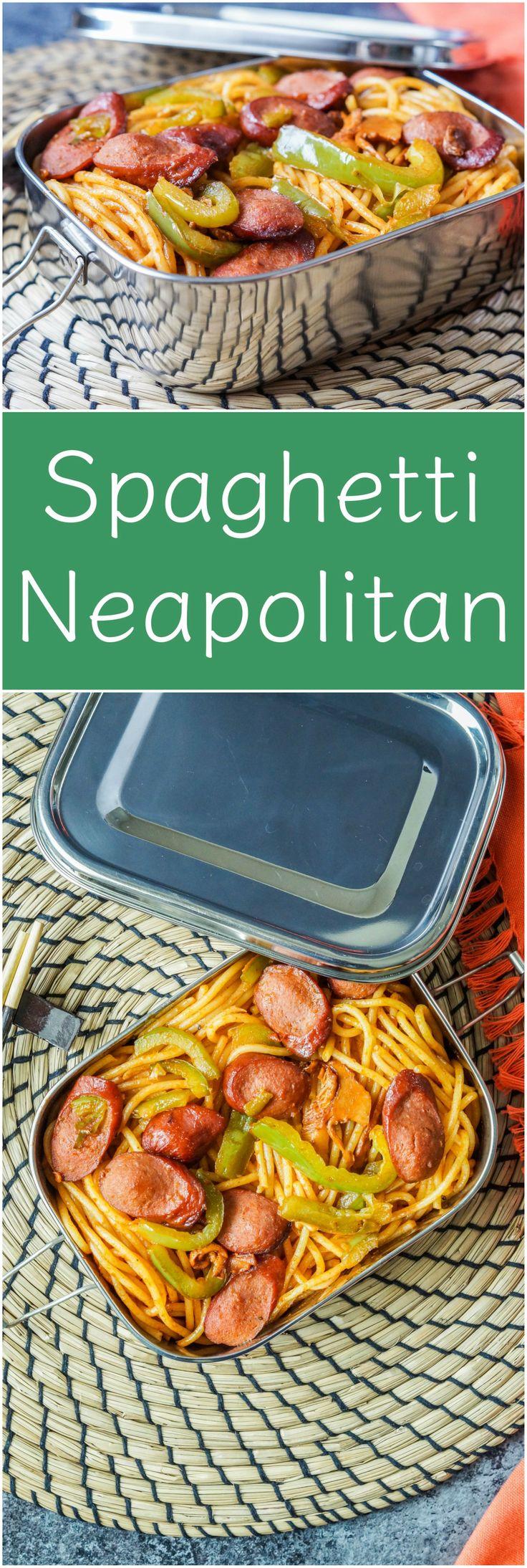 Japanese Spaghetti Neapolitan from the #cookbook, Effortless Bento. #ad.  #spaghetti #pasta #noodles #ketchup #Japan #Japanese #recipe #hotdog #bento