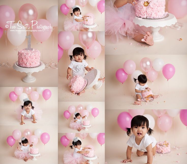 Two sisters photography simple baby girl cake smash pink and silver cake smash balloons pink