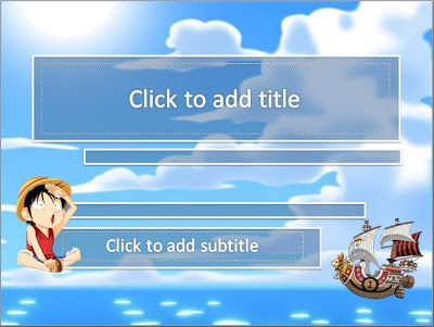 Still theme of anime, this time featuring a design template powerpoint One Piece. One of the anime that is not less interesting with Naruto, the comic also beamed almost comparable to Naruto. On the cover page design uses cloud background and looking the ocean. Equipped Luffy chibi version and sunny go the ships straw hat pirate groups.