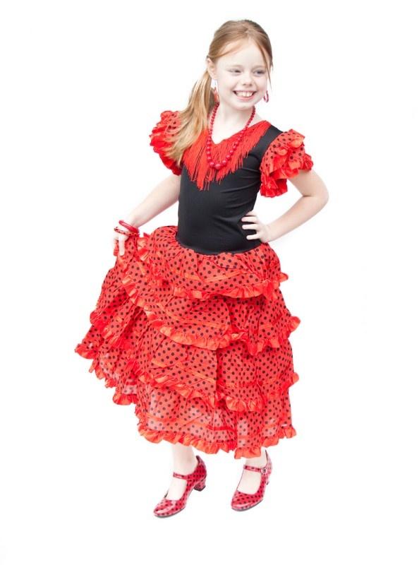 Spaanse Jurk Rood Zwart