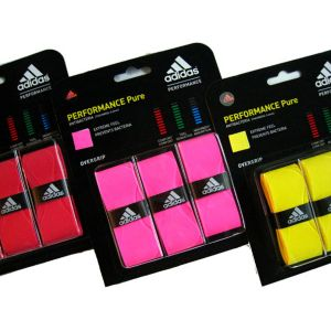 ADIDAS PERFORMANCE PURE BADMINTON OVER GRIP - PACK OF 3  High absorbtion level will take away the shock generated from play and in turn help prevent fatigue. High tack level enhances the players grip and thus allows for less hindered play over lengthy games.available on damroobox website.