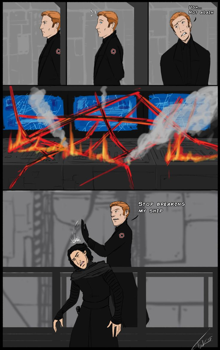 "archetank: "" Quick Star Wars: TFA comic what I done. That last panel is also my (Hux) reaction when people try to spoil my Kylux fun. """