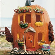 Elves in the garden need a Halloween house, but I would be tempted to do this with s fake carve able pumpkin and save it!