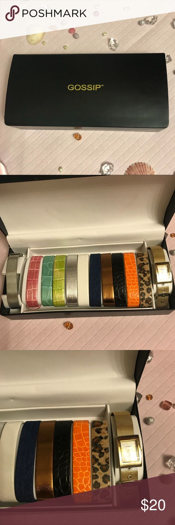 Gossip watch set with 10 different bands New gossip watch set with 10 different brands in great condition never used. Has a band to match every mood and every color of your wardrobe.  Prices are always negotiable and bundling is always appreciated and discounted   #gossip #gossipwatch #watchset Gossip Accessories Watches