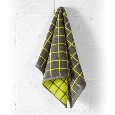 Aura Home Lattice Hand Towel - Neon Lime/Charcoal   Pony Lane