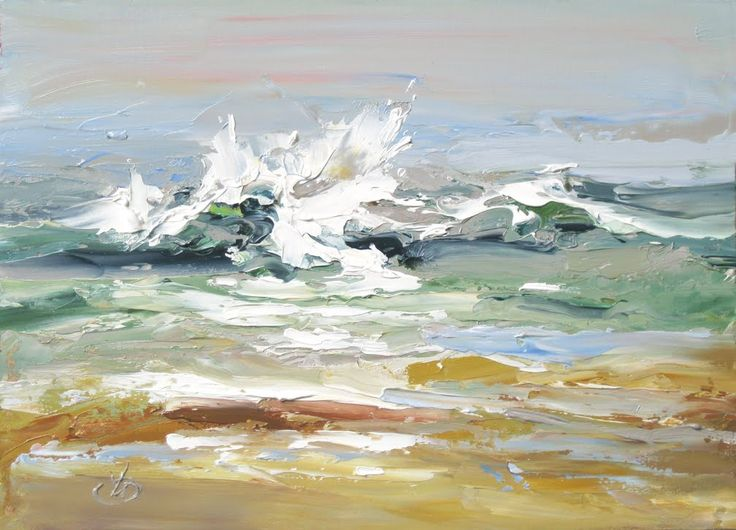 """DOING THE WAVE"" 7x5 INCH ORIGINAL PLEIN AIR PALETTE KNIFE PAINTING BY TOM BROWN   I was recently asked what kind of music I listen to whil..."