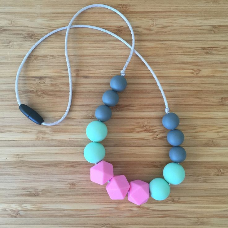 Silicone bead necklace - 'The Piper' - gift - baby shower, new mum, waterproof, beach friendly. Pink, mint, grey. by CrazyLikeFoxShop on Etsy