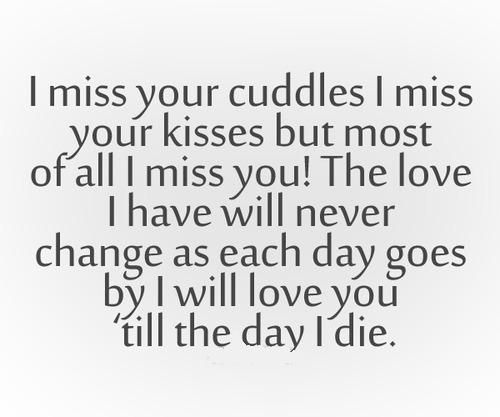 I miss your cuddles I miss your kisses but most of all I miss you! The love I have will never change as each day goes by I will love you till the day I die.