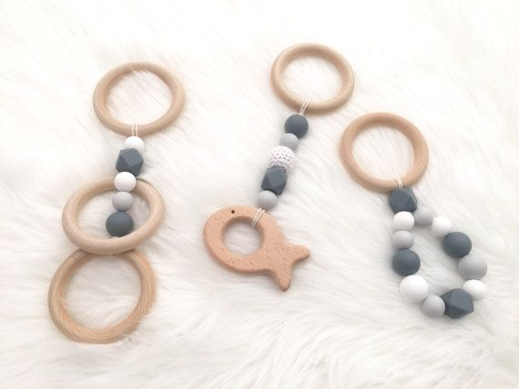 SET OF 3 - Baby wooden toys pram accessories pram toy teething raw wood silicone beads crib toys baby capsule hanging toy