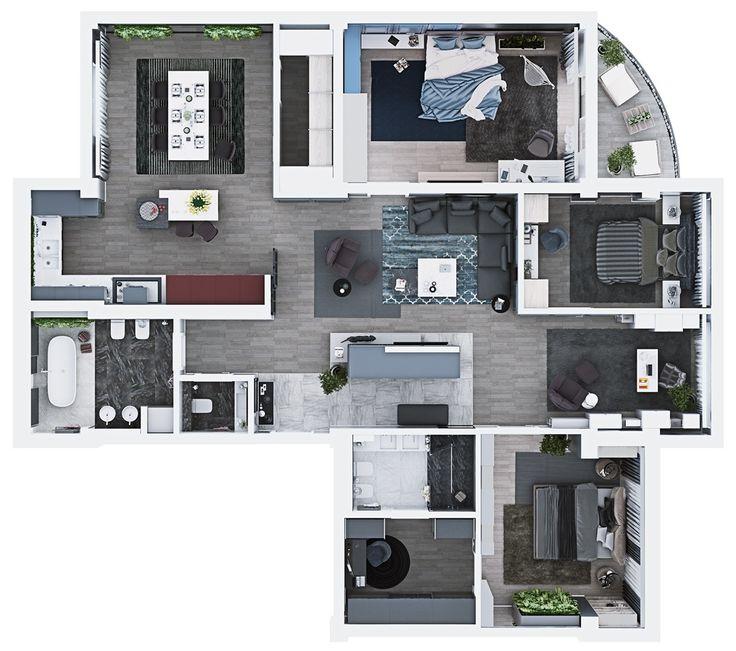Luxury 3 bedroom apartment design under 2000 square feet for Design apartment 2 budapest