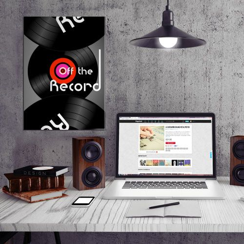 'Off The Record' - metal print by Displate/Alan Hogan  #displate #metalprints #nagohnala #art #vinyl #retro #graphics #record #music #sound #charts #grooves #needles #circles #offtherecord #discs #nostalgia #pop #rock #typography #album #vinylporn #nowplaying #grooves